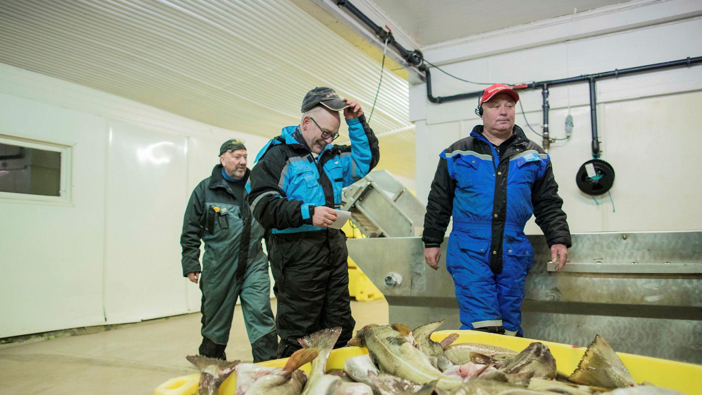 – Nedleggingsspøkelset er borte etter at Lerøy kom inn, sier daglig leder Jan Arne Skog (til høyre) på Skårvågfisk as. Her med produksjonsarbeider Kjell Ottar Larsen (til venstre) og fisker Jan Fredriksen.