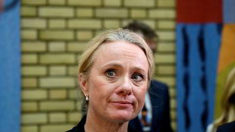 Arbeids- og sosialminister Anniken Hauglie redegjør for Stortinget om NAV-skandalen. Foto: Fartein Rudjord