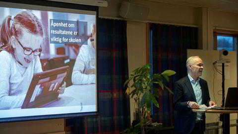 Kunnskaps- og integreringsminister Jan Tore Sanner på Jordal skole i Oslo 3. desember, da han presenterte resultatene fra den siste Pisa-undersøkelsen.