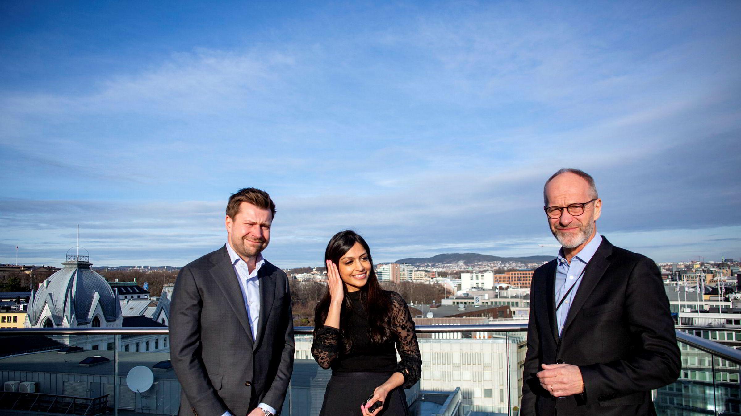 Ole Henrik Wille (fra venstre), Nadia Shah og administrerende partner i Wikborg Rein innrømmer at de ikke har knekt innvandrerkoden.