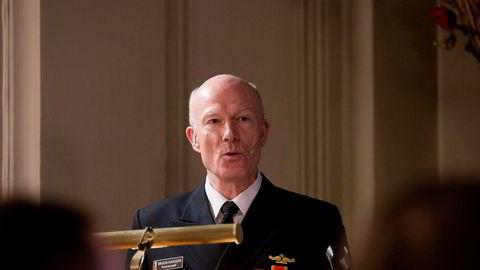 Arkivfoto: Forsvarssjef Haakon Bruun-Hanssen under sin årlige statusoppdatering i Oslo Militære Samfund.