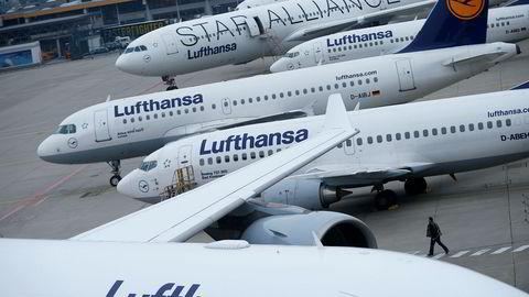 Fagforeningen UFO har varslet streik for kabinansatte i Lufthansa torsdag og fredag. Flere flyvninger kan bli kansellert. Her er fly avbildet fra en tidligere streik i 2015.