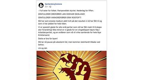 «Full seier for folket. Pampeveldet styrtet. Nederlag for fiffen», var den siste meldingen som ble publisert på Sørlandsnyhetenes facebookside før den ble fjernet.