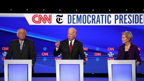 Bernie Sanders (fra venstre),  Joe Biden og Elizabeth Warren er de tre største favorittene til å bli demokratenes presidentkandidat neste år.