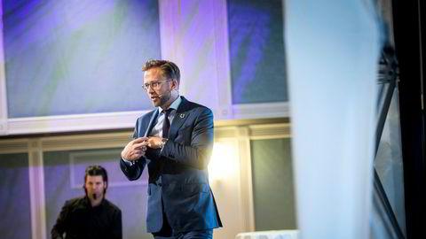 Å starte og drive bedrift en av livshendelsene som regjeringen har prioritert i den nye digitaliseringsstrategien, skriver sigitaliseringsminister Nikolai Astrup i innlegget. Her er han på Boligkonferanse 2019.