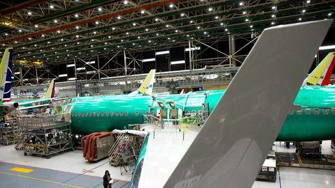 Boeing skal stå overfor rettslig forfølgelse knyttet til produksjonslinjen for 737-Max flyene. Her fra Boeing Renton Factory i mars 2019.