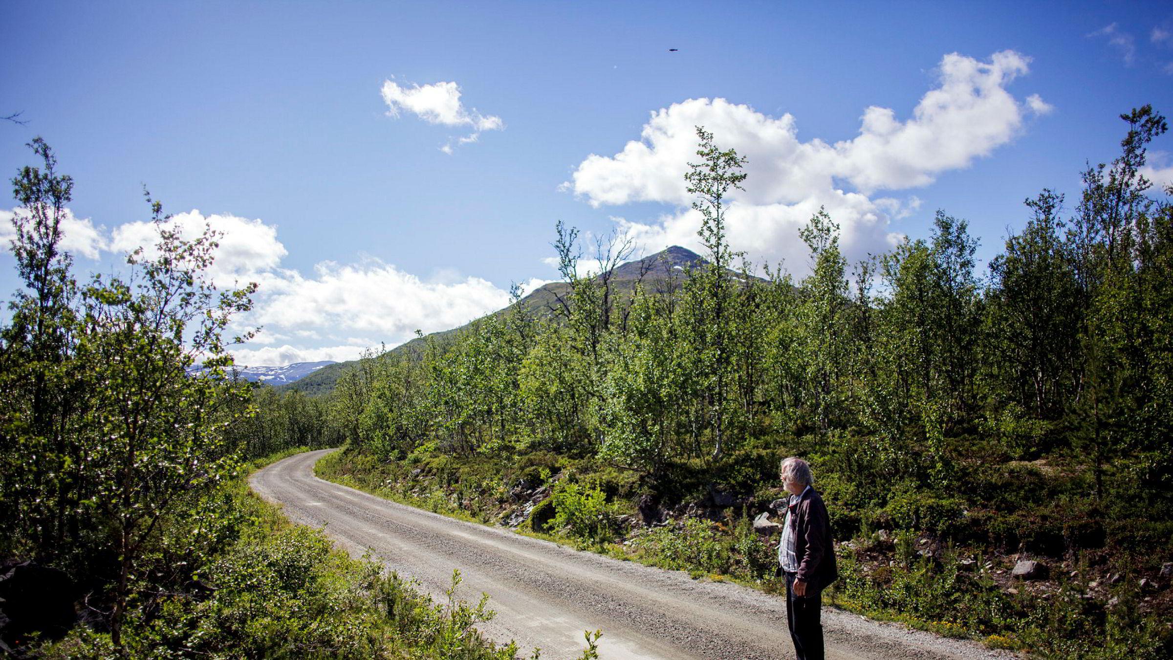 Tom Dybwad på den 1,3 kilometer lange delen av Sikkilsdalsveien han eier grunnen til sammen med 12 andre grunneiere i Sameiet Fundin.
