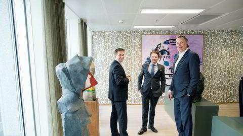 Det var god stemning da Sverre B. Flåskjer (til venstre) og Patrik B. Egeland i 2015 tok over som henholdsvis toppsjef og operasjonssjef i oppkjøpsfondet Herkules. Gründer Gert W. Munthe (til høyre) fortsatte som arbeidende styreleder. Nå har både Flåskjer og Egeland sluttet og flere investorer forteller DN at de har mistet tilliten til Munthe.