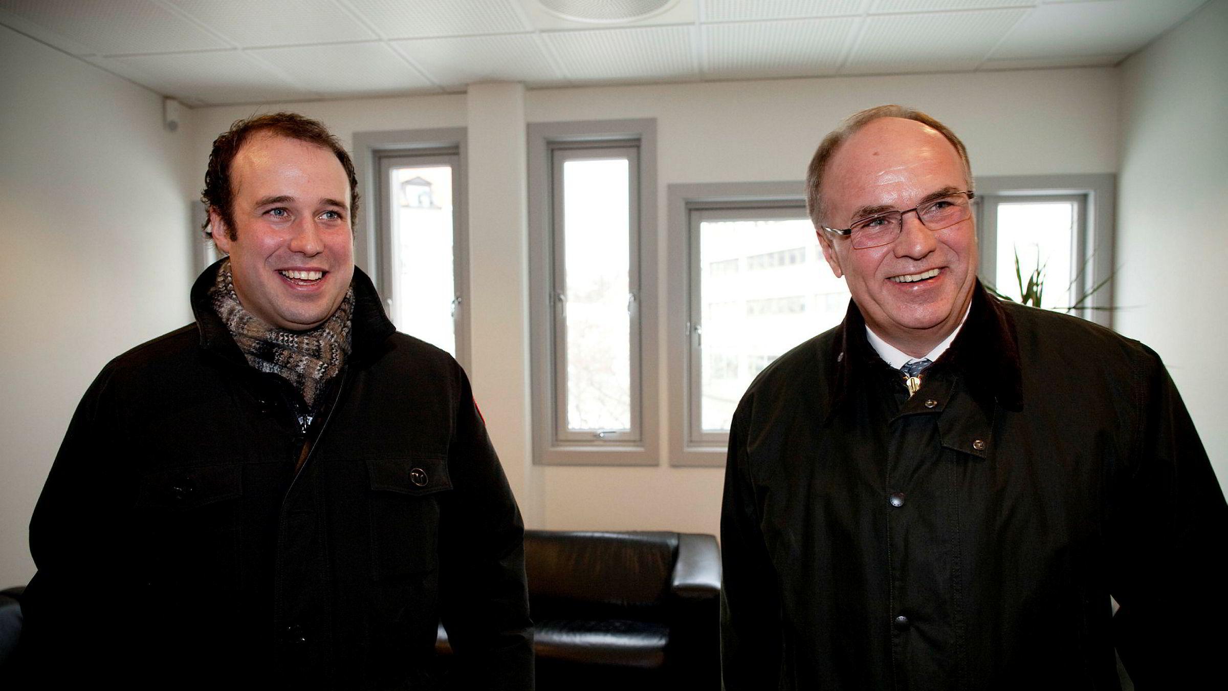 Eiendomsinvestor Johan Benad Ugland (til høyre) investerte i et eiendomsprosjekt med to andre i 2015. Nå ligger det an til å selges med en gevinst på 500 millioner kroner for investorene. Her med sønnen Johan Martin Ugland som er sjef i farens konsern.