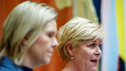Frp-leder Siv Jensen og nestleder Sylvi Listhaug la torsdag frem tiltakene de er nødvendige for å håndtere effekten koronaviruset har på norsk næringsliv.
