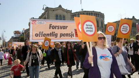 Den nye pensjonsavtalen i offentlig sektor møter kritikk. Bildet er fra et tidligere 1. mai arrangement.