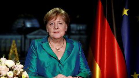 Tysklands statsminister Angela Merkel sier i sin nyttårstale at hun bruker all sin kraft på å bekjempe klimaendringene, som hun slår fast er menneskeskapte. Foto: Michele Tantussi / AP / NTB scanpix
