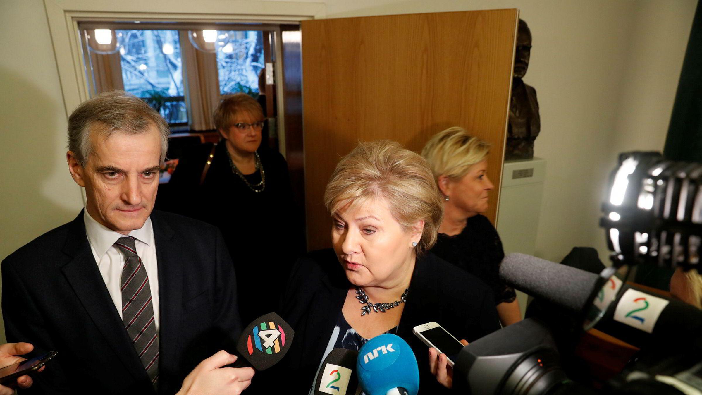 Statsminister Erna Solberg i Metoo-møte med partilederne og generalsekretærer fra alle partiene på Stortinget.