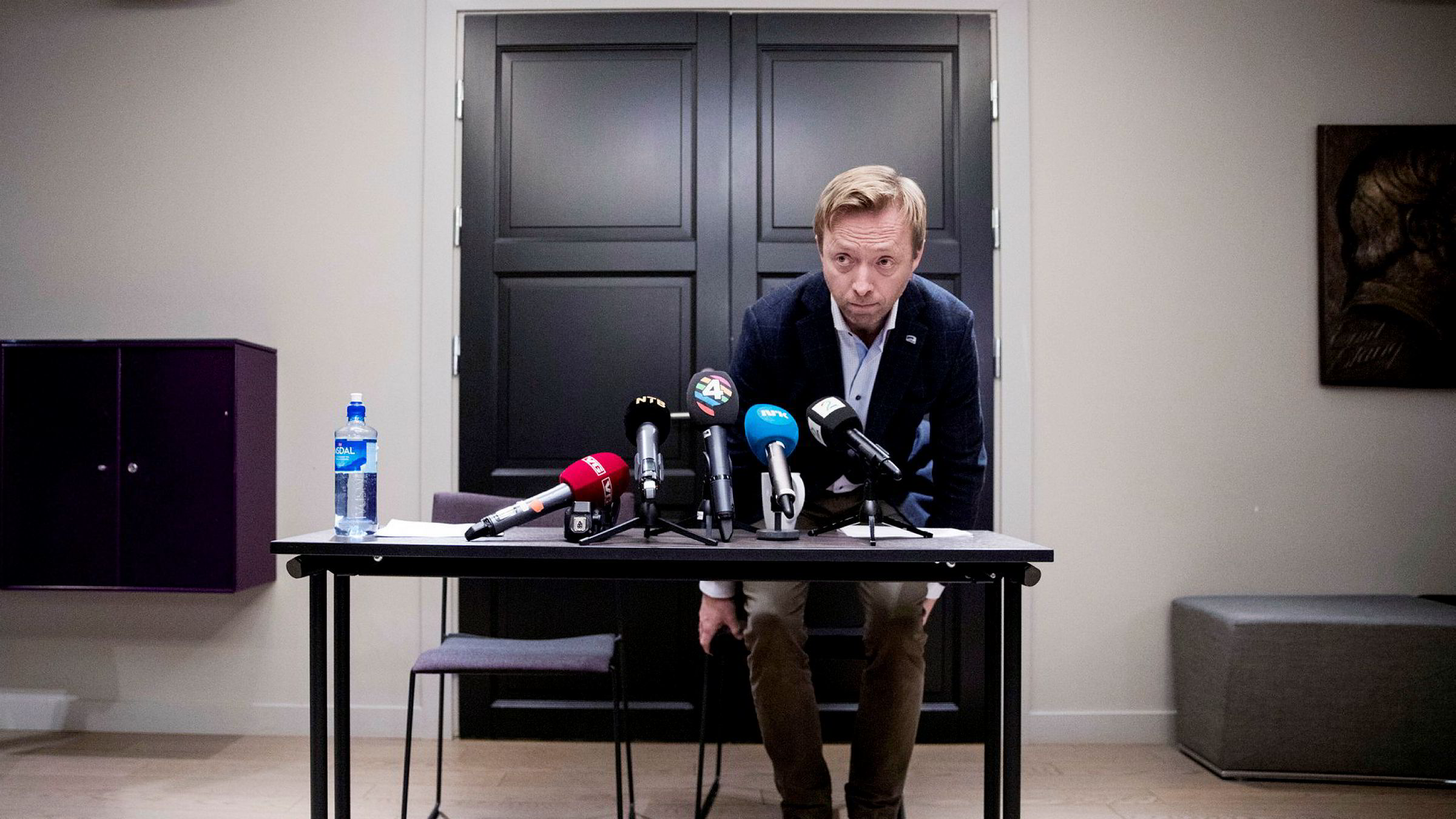 Høyres generalsekretær John-Ragnar Aarset. Her fra da han orienterte pressen om varslersakene i Unge Høyre i fjor.