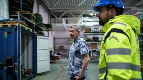 Daglig leder Vidar Antonsen i leverandørselskapet Mento og markedssjef Petter Bjørkli i forsyningsbasen Polarbase ved Hammerfest.
