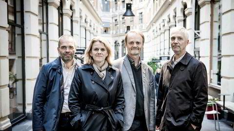 DNs rentepanel består av Ragnar Torvik (fra venstre), Hilde Bjørnland, Knut Røed og Steinar Holden. Kari Due-Andresen var ikke til stede da bildet ble tatt. Foto: Gorm K. Gaare