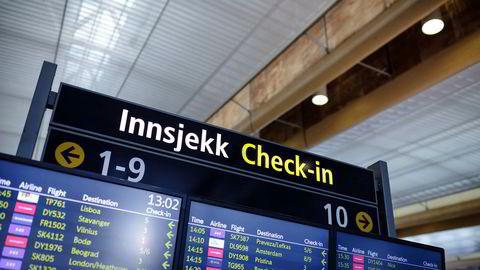 Mange er misfornøyd med flyselskapet de har reist med. Bildet viser innsjekk-tavlen på Oslo Lufthavn Gardermoen.