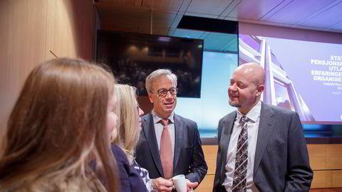 Sentralbanksjef Øystein Olsen og oljefondssjef Yngve Slyngstad (til høyre) har ikke fått gehør for å slippe unna millioner i svensk kildeskatt.