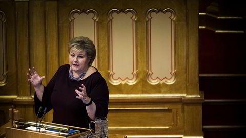 Statsminister Erna Solberg i Stortingssalen.