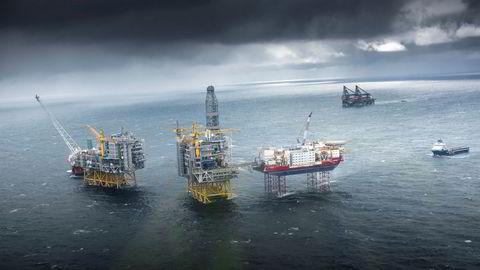 Her ses gigantfeltet Johan Sverdrup ute i Nordsjøen. SSB venter lavere vekst i oljeinvesteringene.