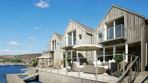 Husebukta slik utviklerne bak Hankø Brygge vil se området. Hyttene skal ifølge prospektet ligge solrikt til på sørsiden av Husebukta, med Hankø Yacht club som nærmeste nabo.