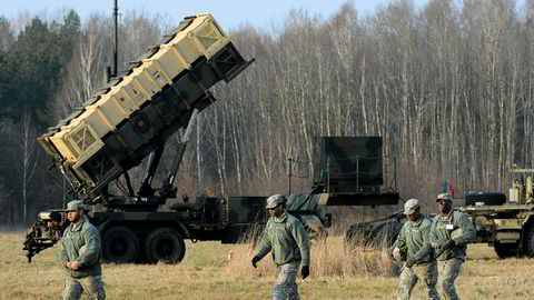 Raytheon, som produserer blant annet denne Patriot-raketten, stuper på børsen etter toppmøtet i Singapore.