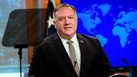 Utenriksminister Mike Pompeo sier USA vurderer sanksjoner mot personer som er involvert i «menneskerettighetsbrudd og undertrykkelse» i Hviterussland.