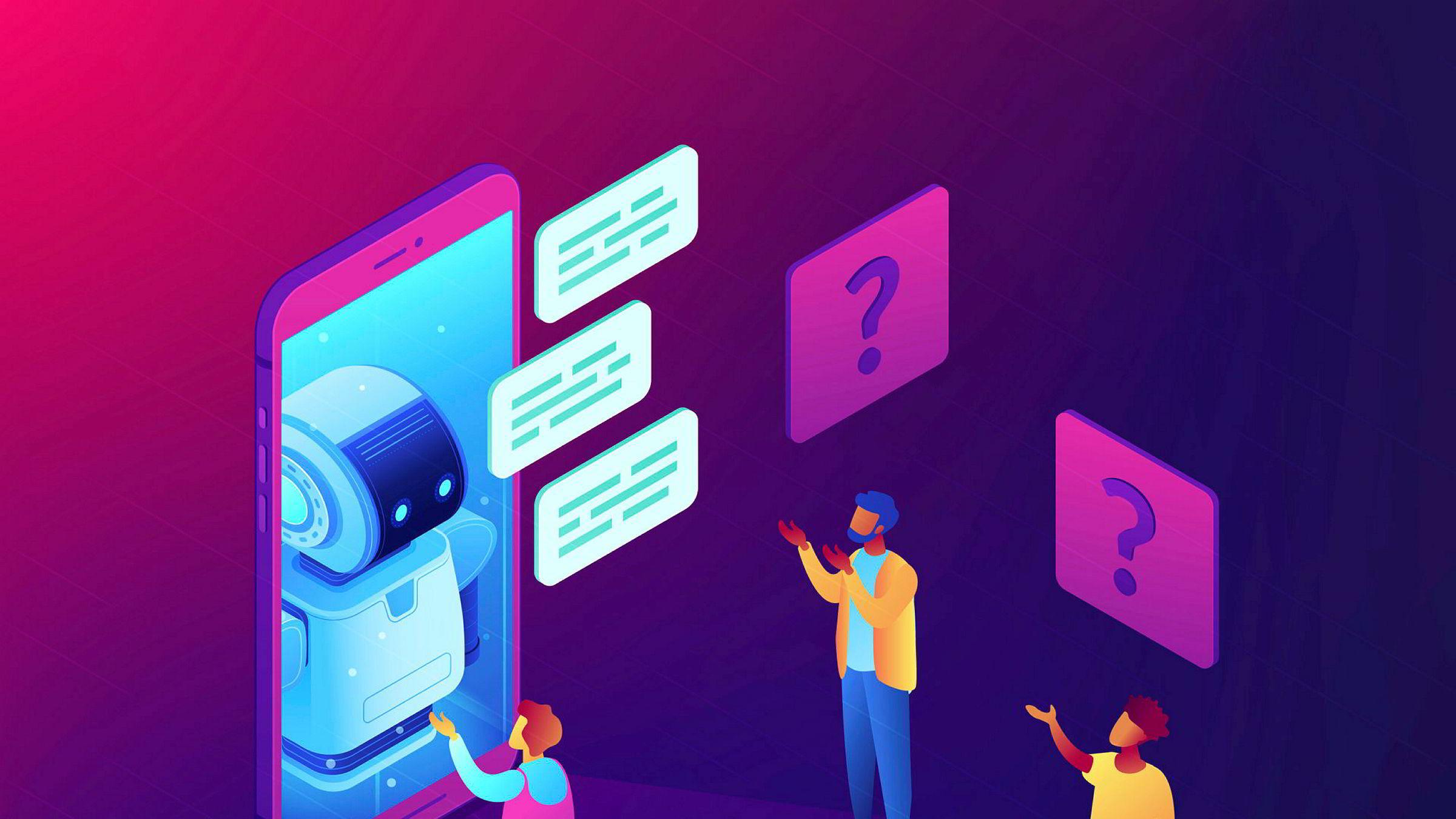 Det er behov for en felles nasjonal arena hvor akademia og næringsliv jobber sammen, hvor mindre bedrifter kan få drahjelp til sine prosjekter og hvor start-ups kan få tilgang på relevante datasett. Bildet viser en chatbot – et nytt produkt som er gjort mulig ved hjelp av kunstig intelligens.