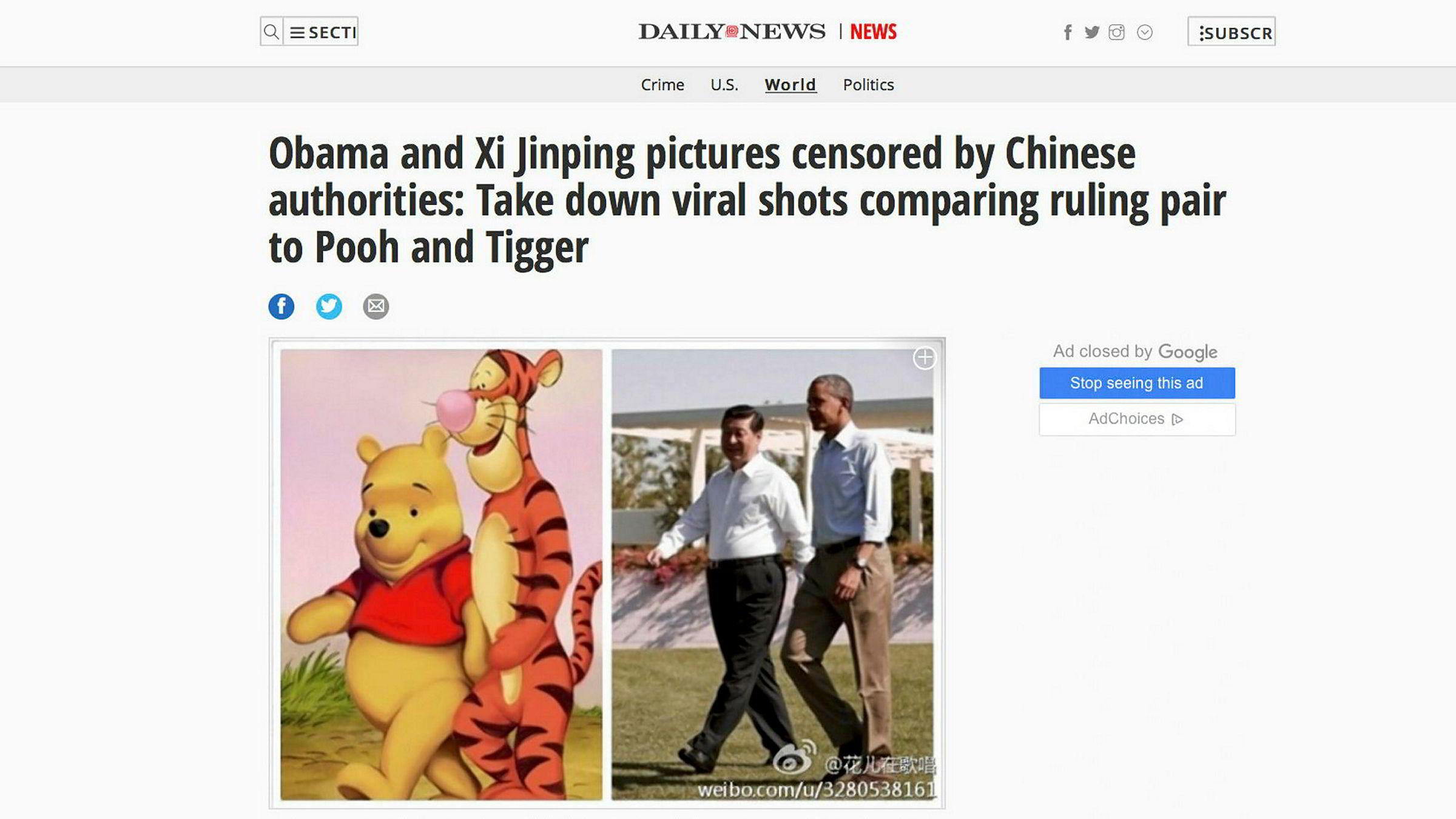 Kinesiske myndigheter har fått nok av bildesammenligninger som dette. Her sammenlignes Ole Brumm og Tigergutt med Xi Jinping og Barack Obama.