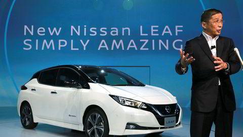 Nissan-sjef Hiroto Saikawa, her i forbindelse med presentasjonen av nye Nissan Leaf.