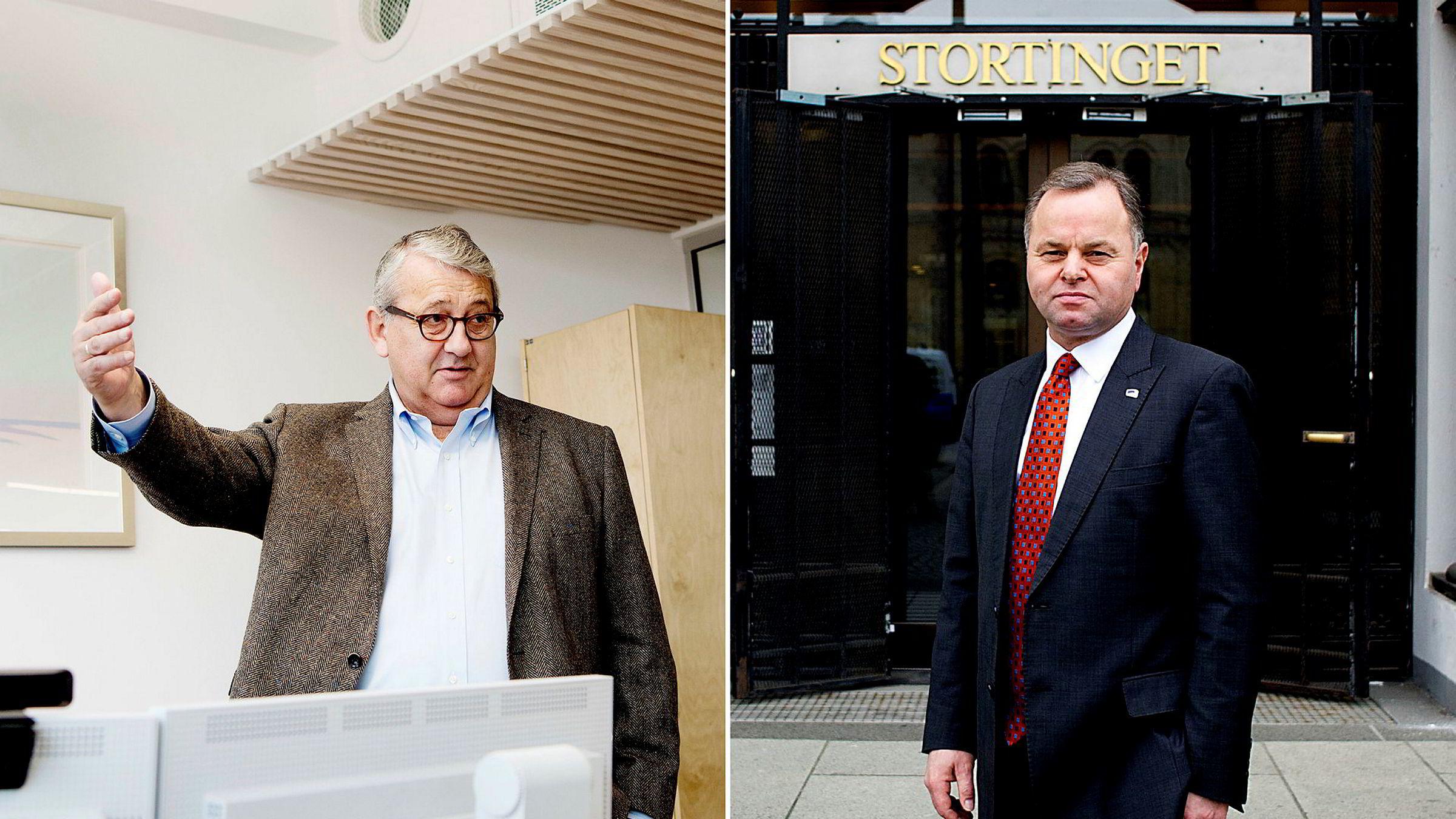 Riksrevisor Per-Kristian Foss (til venstre) har meldt at Riksrevisjonen ønsker å gjøre en såkalt efterlevelsesrevisjon av sikkerheten på Stortinget. Stortingspresident Olemic Thommesen mener Riksrevisjonen tildeler seg selv en rolle den ikke skal ha.