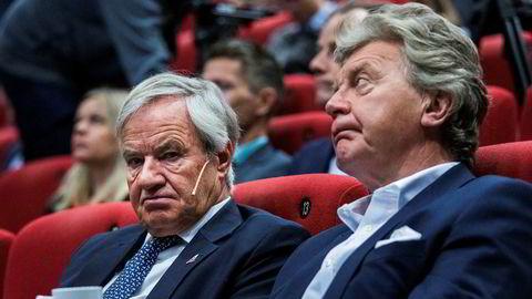 Bjørn Kjos (til venstre) og Bjørn H. Kise har gjennom HBK Holding as har inngått en TRS-avtale med Danske Bank for fem mill. aksjer i Norwegian.