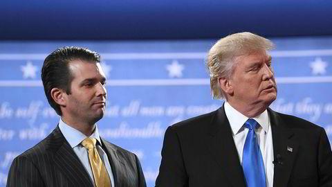 På ett område venter vi fortsatt på sannheten: forbindelsene mellom deler av Donald Trumps presidentvalgkamp, deriblant presidentens sønn Donald Trump jr. (til venstre), og offentlige representanter for Russland.