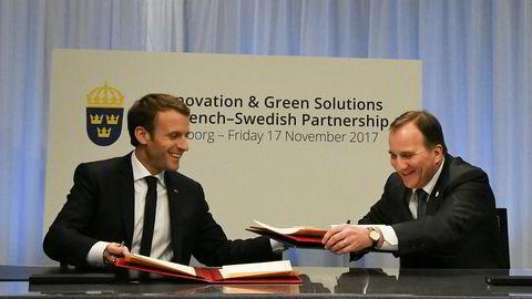 Frankrikes president Emmanuel Macron og Sveriges statsminister Stefan Löfven undertegnet fredag en samarbeidsavtale om innovasjon og grønne løsninger. Foto: Johan Falnes / NTB scanpix