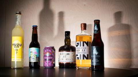 Yuzu sake (fra venstre), Velvet Hazard Trippel hvetebook fra Austmann bryggerier, Lindisfarne Scotch Ale, Rom El Dorado 15 years, Koskue gin og Wee Heavy fra Einstök bryggeri på Island.