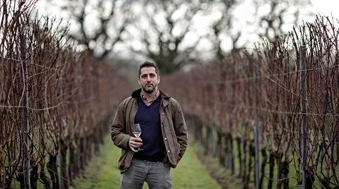 Charlie Holland på vingården Gusbourne i Appledore i Kent. Produksjonen av musserende vin har tatt av i det sørlige England, og særlig i Kent og Sussex, og konkurrerer nå mot fransk musserende.