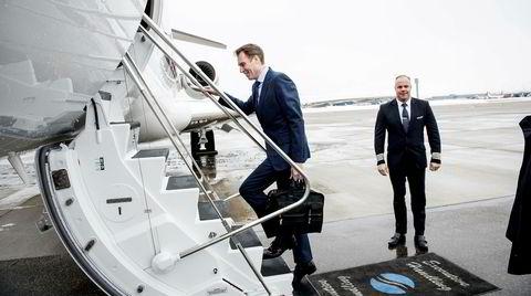 Pål Kibsgaard-Petersen er konsernsjef i Schlumberger. Her er han på GA-terminalen på Gardermoen på vei tilbake til USA etter noen dager i Norge.