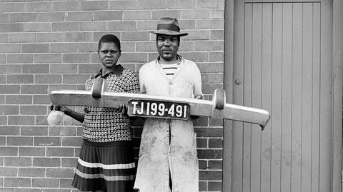 She said to him 'You be the driver and I'll be the madam,' then they picked up the fender and posed, Hillbrow 1975.