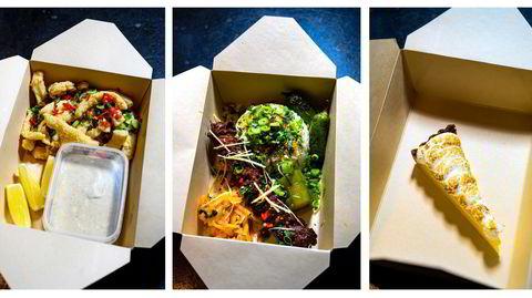 Tre retters takeaway-meny fra Bass Oslo: Fritert calamari og storfegrillspyd med «partyris» og kimchi avsluttes med en sitronterte.
