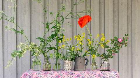 Potluck. Nesten alt kan brukes som vaser (og selv blomster fra grøftekanten blir skjønne arrangert på riktig vis). Vaser, gamle spritflasker og potteskjulere i skjønn forening fylt med hundekjeks, russekål, orientvalmue og en villrose.