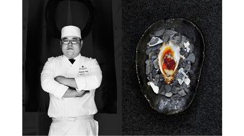 Kokken og retten. Vladimir Pak bruker ponzu-saus som har vært syltelake for cherrytomater for å gi franske østers en ekstra dimensjon.