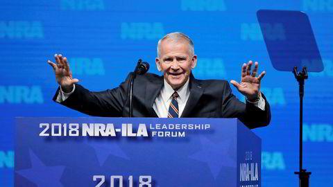 Oliver North på NRA-kongressen i Dallas sist uke. Han blir nå sjef for den mektige organisasjonen med rundt fem millioner medlemmer.