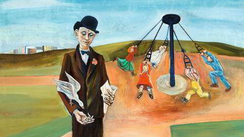 Krigshverdag. Reidar Aulie malte «Karusellen» i 1941, men hva som foregår i bildet, er åpent for fortolkning.