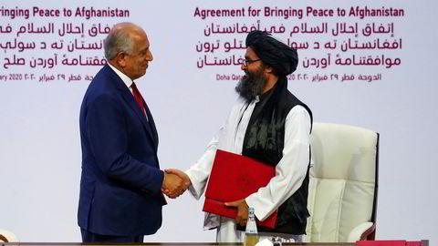 I februar i år signerte USA og utsending Zalmay Khalilzad en avtale med lederen av Taliban-delegasjonen Mullah Abdul Ghani Baradar i Qatar. Taliban lovet å kutte alle bånd til al-Qaida mot at USA trakk sine styrker ut av Afghanistan.