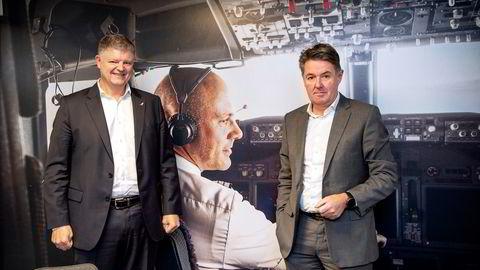 Konsernsjef Jacob Schram og finansdirektør Geir Karlsen i Norwegian.