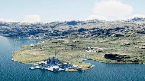 Horisont Energi har inngått en samarbeidsavtale som kan ende opp med en av verdens første fullskala produksjonsanlegg for utslippsfri ammoniakk, takket være lagring av CO2 i Barentshavet. Bildet er en illustrasjon av anlegget.