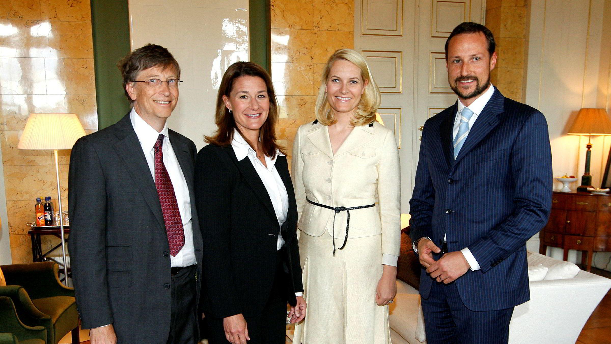 Bill og Melinda Gates (til venstre) ble i 2009 mottatt i audiens på Slottet av kronprinsesse Mette-Marit og kronprins Haakon.