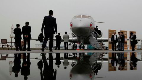 Utbruddet av Korona-viruset har ført til kraftig vekst i privatfly-avganger fra Hong Kong. Dette bildet er av et Bombardier Global Express XRS privatfly og er tatt på en flymesse i Hong Kong i 2011.