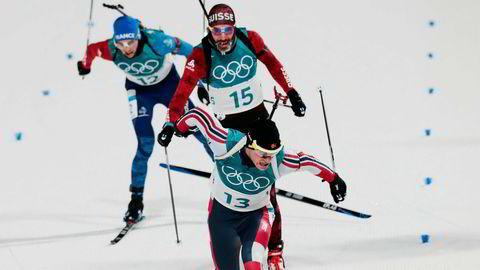 Tarjei Bø i aksjon på 10 km sprint skiskyting i Alpensia Biathlon Centre under vinter-OL i Pyeongchang.