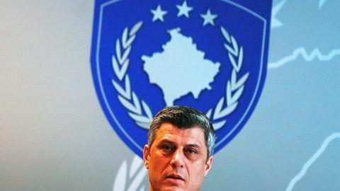Kosovo president Hashim Thaci opplyser at det blir nyvalg i landet i juni som følge av at et mistillitsfroslag felte regjeringen tidligere denne uken. AFP PHOTO / ARMEND NIMANI